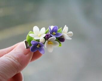 Flower hair clip - flower hair accessories - lilac hair - floral hair clip - Polymer clay flower clip - hair accessories - hair flowers