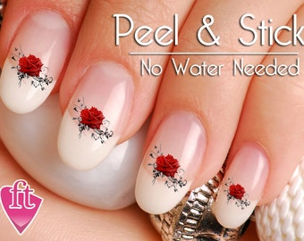 Rose nail decal etsy red rose flower swirl nail art decal sticker set prinsesfo Choice Image