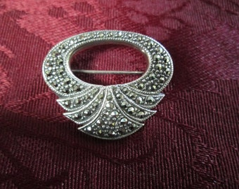 Vintage Marcasite and Sterling Silver Pin