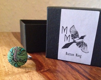 Forest Green Button Ring