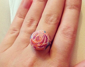 Purple Rose Button Ring