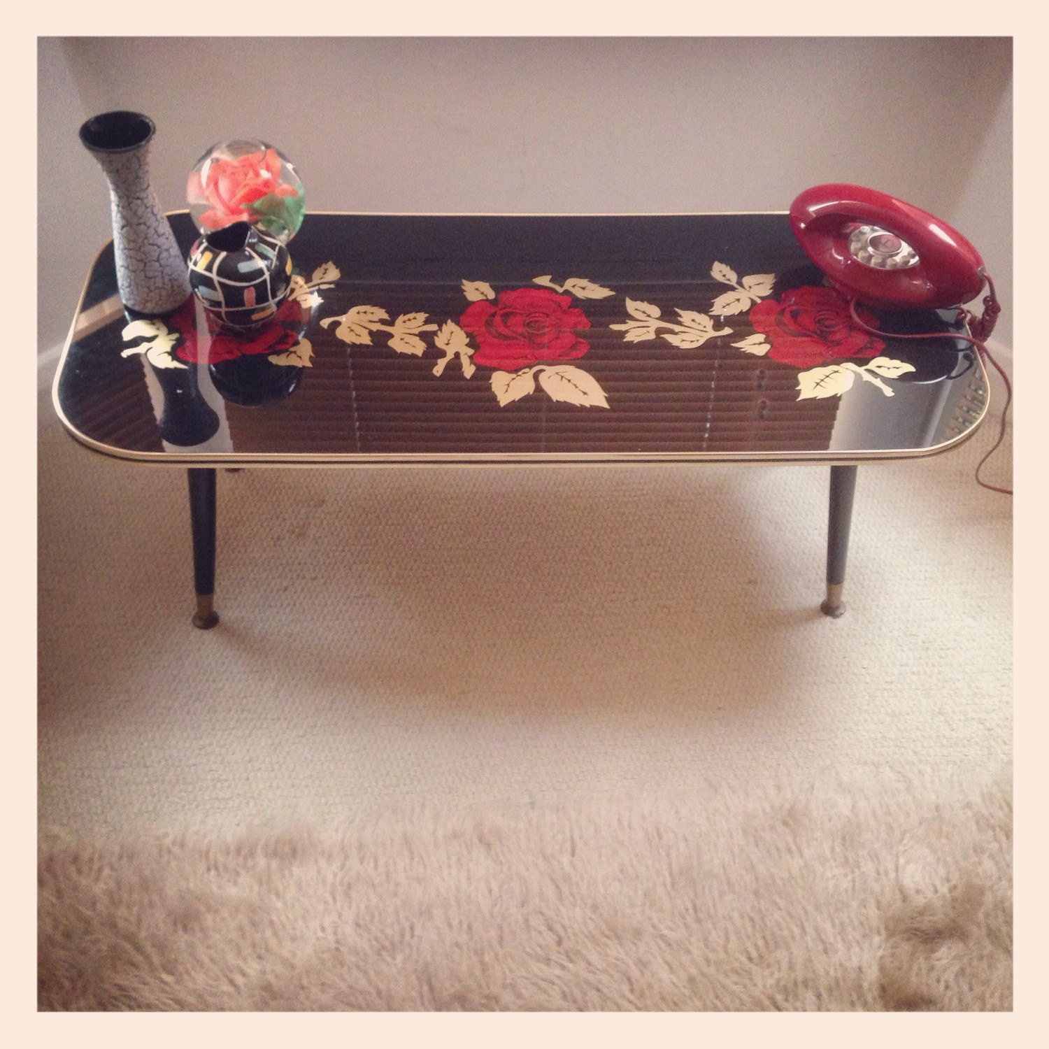 Kitsch Retro Vintage Coffee Table With Dansette Legs