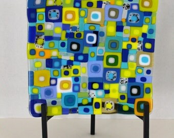 Eight Inch Square Retro-inspired Fused Glass Dish