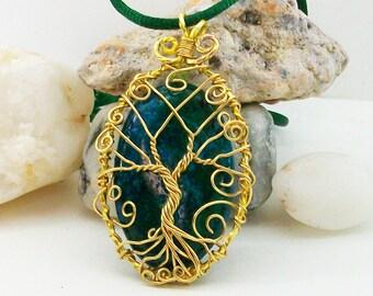 Crysocolla stone pendant