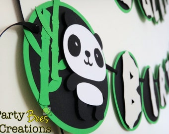 Cute panda bear with bamboo font Green black and off white birthday banner