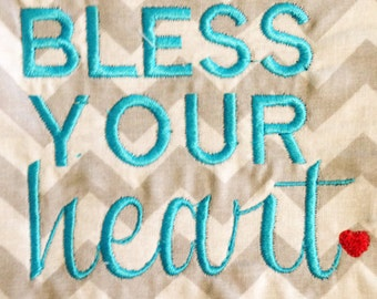 "Darling ""Bless Your Heart"" Machine Embroidery Design in 5 Sizes"