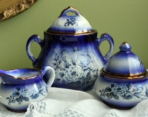 Staffordshire Mayfayre Pottery. Creamer, Jam and Sugar Bowl. Cobalt Blue and Gold Pottery Dish Set with Floral Decor.