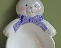 Vintage Bunny Bowl.  Pottery Bunny Bowl by Hallmark. Bowl in Bunny Shape May be Hung on the Wall.