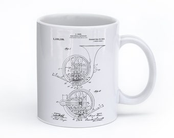 French Horn Mug, Music Teacher Gift, Music Mug, Band Director Gift, Music Coffee Mug, PP0188