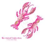 Preppy Pink Lobster clip art - Original Art download, whimsical lobster clip art, preppy clip art