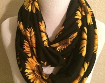 Sunflower Scarf // Infinity Scarf // Loop Scarf // Flower Scarf