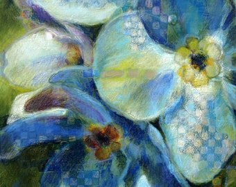 Canvas Art Blue, Flower Painting, Blue Art Print, Painting of Blue Flowers Printed on Canvas, Acrylic and Mixed Media, 13x16, Free Shipping