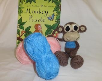 Crochet Monkey (small), Amigurumi Monkey, Jungle Animal, Plush Toy, Boy, Girl, Baby, Gift, Present, Baby shower, Nursery