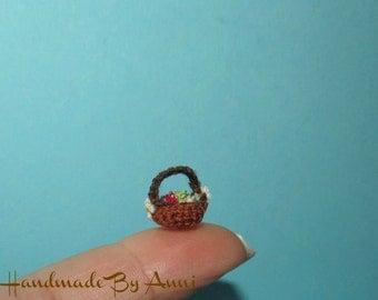 Miniature Easter basket dollhouse miniature crochet basket eggs easter miniatures
