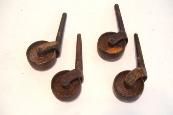 4 antique iron casters furniture wheel with shaft 1 3 4 inch