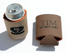 Personalized Groomsmen Gift Set of 3 - Leather Coozie - Drink Holder - Beverage Holder - Groomsmen Gift - Dark Brown or Light Brown