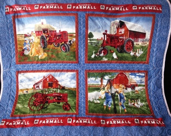 Sale!  Bright Red White and Blue Farmall Quilt