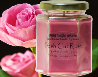 Fresh Cut Roses Handmade Soy Blend Candle (Spring Floral Collection)  Free Shipping on Orders of 6 or More
