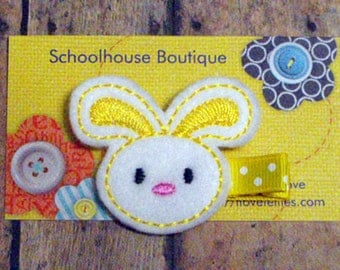 Yellow Bunny felt Hair Clips, Easter Basket Filler, Felties, Felt Hair Clips, feltie hair clip, Felt Hair Clippie, Hair Accessories