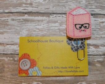 Pink Geeky Nerd Book felt paperclip bookmark, felt bookmark, paperclip bookmark, feltie paperclip, christmas gift, teacher gift