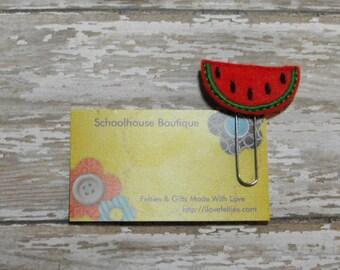 Watermelon felt paperclip bookmark, felt bookmark, paperclip bookmark, feltie paperclip, christmas gift, teacher gift
