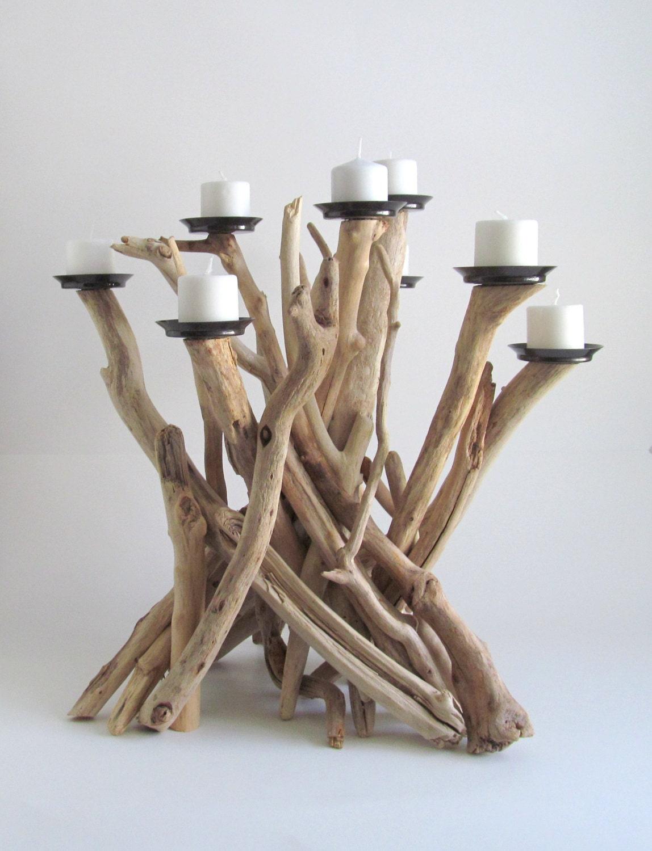 Plage de bois flott 8 bougie chandelier bougeoir en bois for Chandelier bois flotte