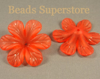 33 mm x 8 mm Red Lucite Flower Bead - 6 pcs