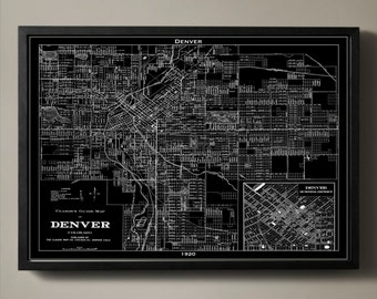 DENVER Map Print, Black and White Denver Wall Decor