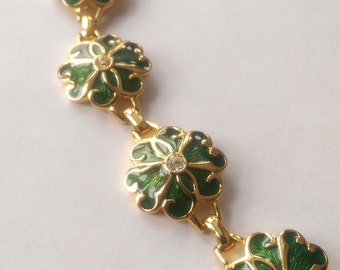 Necklace Guilloche Green Enamel Swarovski Crystal Clover