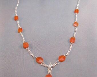Carnelian sterling silver necklace