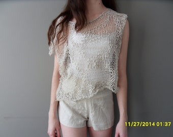 Oversize cotton cropped  top. Loose knit womens summer top.