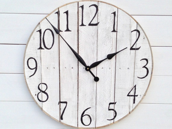 24 White Washed Pallet Wood Wall Clock By TickTockCreations