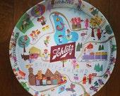 "Vintage 1950s Schlitz Beer Metal Tray ""Welcome To Schlitzerland"" (GOOD CONDITION)"