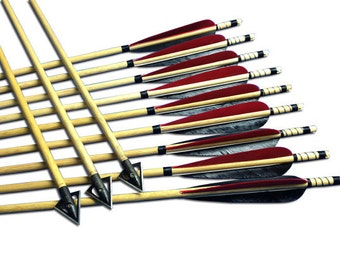 Longbowmaker 12PK Wooden Hunting Arrows For Outdoor Archery Recurve Bow Longbow