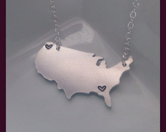 Hand Stamped Map Necklace - Personalized USA Map with Hearts Stamped By Hand - Aluminum 14g - Custom Long Distance Gift - I Miss You Gift