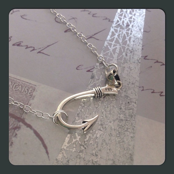 Sideways Fish Hook Necklace Fishers Of Men Necklace