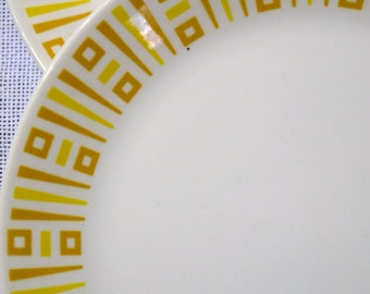 Vintage Syracuse China Syralite Bread Plate Set of 2 Yellow Gold Geometric PanchosPorch