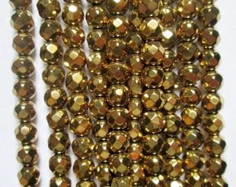 "Faceted Hematite Round Beads 4 mm, Gold Hematite - Full Strand 15 1/2"", 98 beads, AA - Quality"