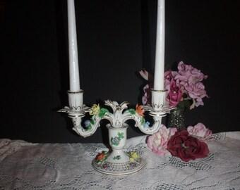 Vintage Dresden Double Porcelain Candle Stick Holder
