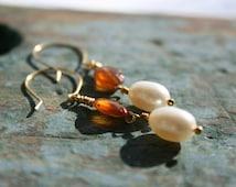 Petite Oval Amber and Fresh Water Pearl Pearl Dangle Earrings