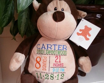 Embroidered Monkey- Birth announcement gift - Embroider buddy - EB - stuffed monkey- monkey stuffed animal
