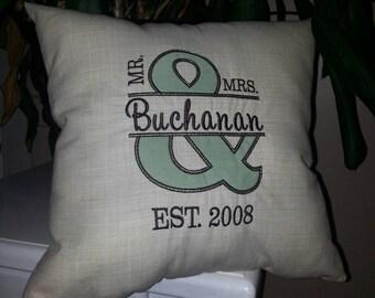 Wedding Pillow, Throw Pillow, Mr. and Mrs. Pillow, Monogrammed Pillow, Wedding Gift, Anniversary Gift, Decorative Pillow, Accent Pillow