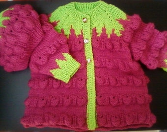 hand made knitted red raspberry soft knitted set for a baby
