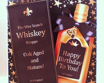 Whiskey Birthday Card, handmade 3D,Decoupage,Personalise, scotch,humorous