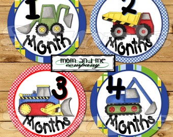 Baby Monthly Stickers Baby boy Shower gift 1-12 Month stickers Infant Milestone stickers Baby Boy Month stickers Construction Trucks decals
