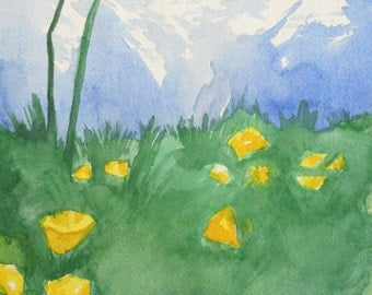 Switzerland Alpine Wildflowers- Grindelwald, Switzerland - Original Watercolor Painting - Swiss Alps - Bright Colors - 8x10