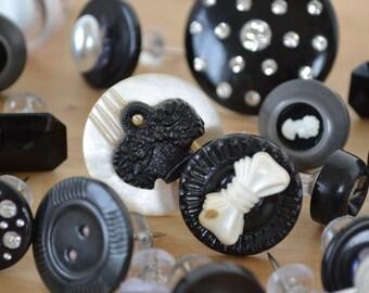 Set of 8 black and white rhinestone tuxedo styped vintage button thumbtacks/thumb tacks