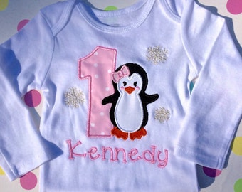 Baby Girl first birthday one-sie, 1st  birthday Penguin outfit girl,  Baby Girl personalized , Penguin Birthday baby girl outfit , Pink