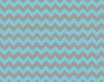 Half Yard Small Chevron - Tone on Tone in Aqua and Gray - Cotton Quilt Fabric - C400-09 - Riley Blake Designs (W2491)