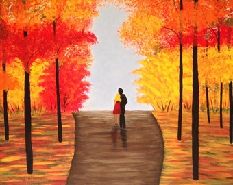 fall painting,tree painting, couple silhouette painting,orange painting,yellow painting,red painting, 18x24,